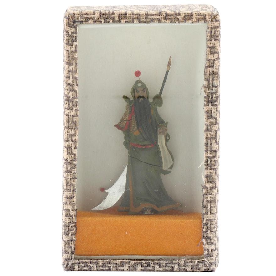 Chinese Guan Yu Figurine in Display Case