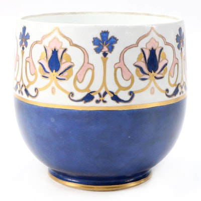 Ravenwood Hand-Painted Signed Limoges Porcelain Cachepot