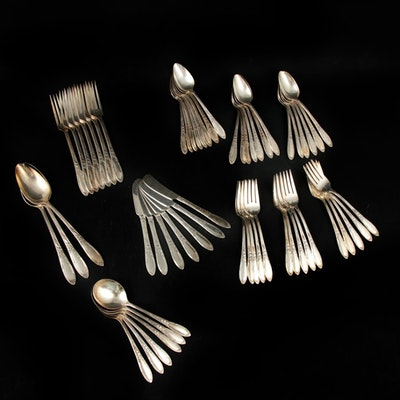 "Heirloom Plate ""Chateau"" Silver Plate Flatware Service, Mid-20th Century"