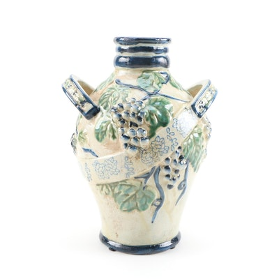 Handcrafted Grape and Leaf Motif Ceramic Vase