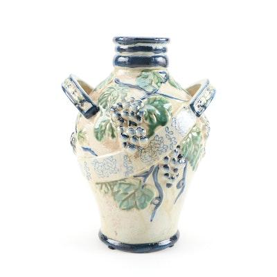 Handcrafted Grape and Leaf Motif Ceramic Vase