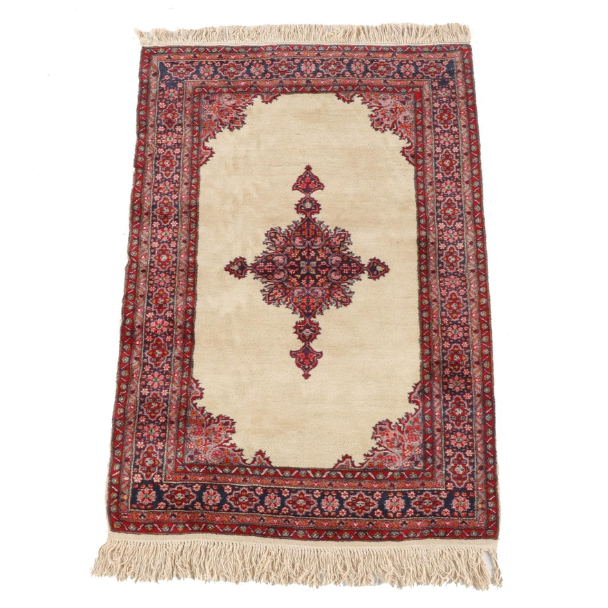 4'2 x 6'11 Hand-Knotted Persian Kerman Wool Rug