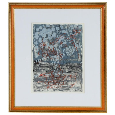 "Jean-Paul Riopelle Color Lithograph for ""Derrière le Miroir"", 1970"
