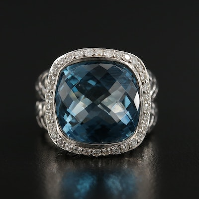 Scott Kay Sterling Silver Blue Topaz and Diamond Ring