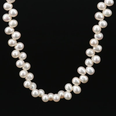 Hand Knotted Cultured Pearl Strand Necklace with 14K Yellow Gold Clasp