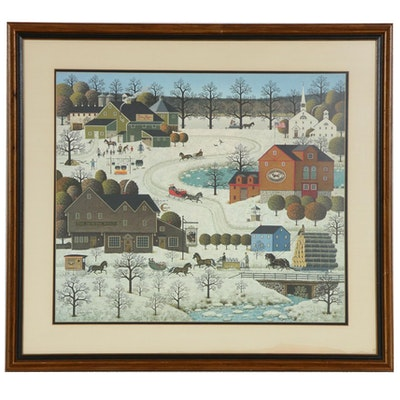 "Charles Wysocki Offset Lithograph ""Fox Run"", 1979"