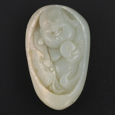 Chinese Nephrite Budai Pebble Carving
