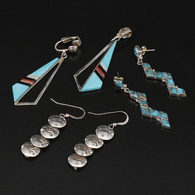 Sterling Turquoise, Coral, Mother of Pearl Earrings Featuring Southwestern