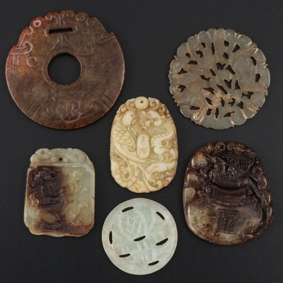 Chinese Carved Serpentine Discs and Pendants
