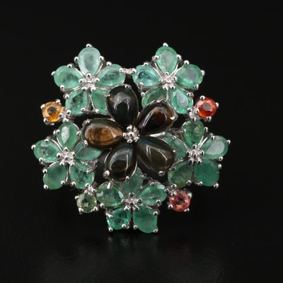 Sterling Silver Opal, Sapphire and Emerald Floral Motif Ring