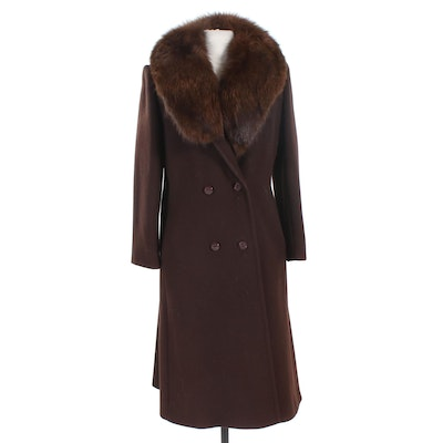 Forstmann Brown Wool Double-Breasted Coat with Dyed Fox Collar
