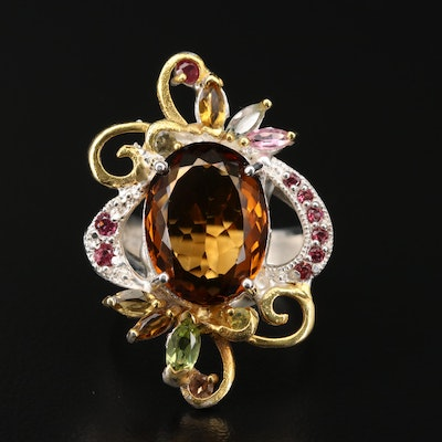 Sterling Silver Citrine, Peridot and Tourmaline Ring