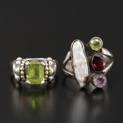 Sterling Rings Featuring Caviar by Lagos, Peridot, Pearl and 18K Accents