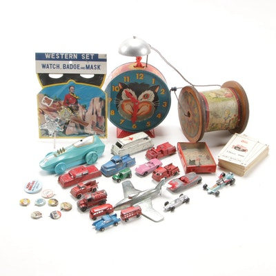 "Diecast Cars, a ""Western Set"", Pinbacks and Toys"
