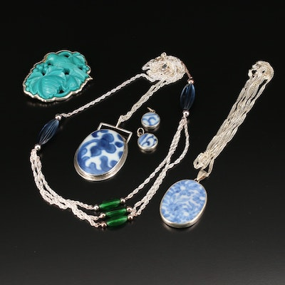 Sterling Silver Glass Necklaces, Earrings and Brooch