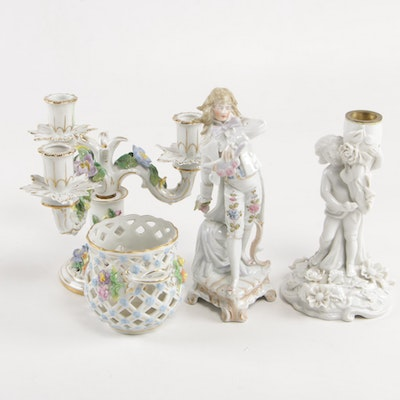 Carl Thieme Porcelain Candelabra and Reticulated Bowl, with Other Porcelain