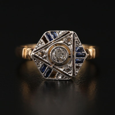 Art Deco 18K Gold and Platinum Diamond, Synthetic Sapphire and Sapphire Ring