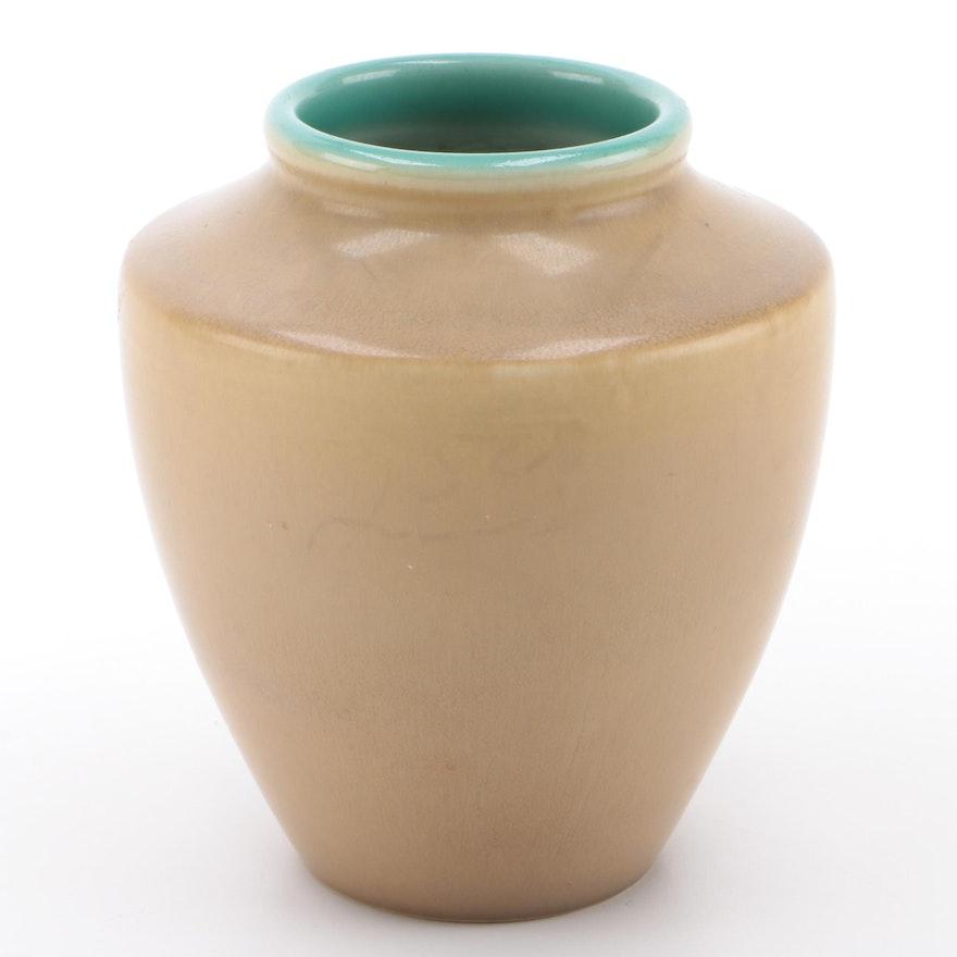 Rookwood Pottery Green and Tan Matte Glaze Vase, 1922