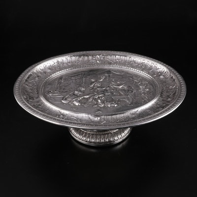 Neoclassical Style Bas Relief Silver Plate and Wood Footed Serving Dish