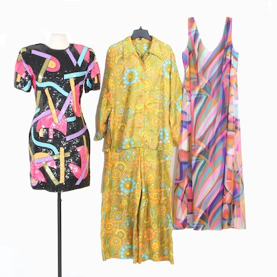 Laurence Kazar Sequined Cocktail Dress and Other 1970s-1980s Vintage Clothing