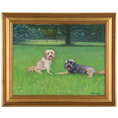 Dick Ernenwein Oil Painting of Two Dogs in Grassy Field