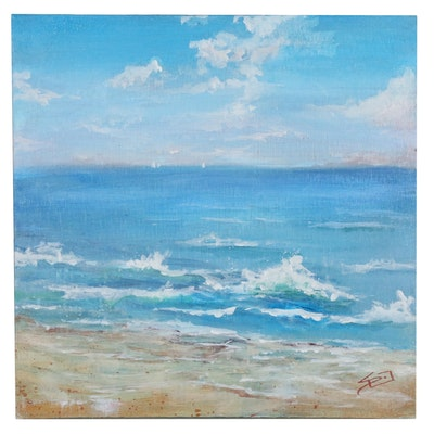 "Sue Dion Coastal Landscape Acrylic Painting ""An Invitation to Stroll"""