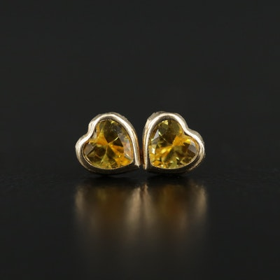 14K Gold Cubic Zirconia Heart Stud Earrings