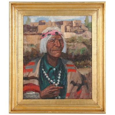 Marco Gomez Portrait Oil Painting of Native American Elder in Front of Pueblo
