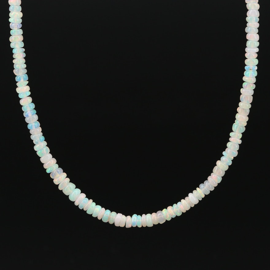 Beaded Opal Necklace with 14K Yellow Gold Clasp