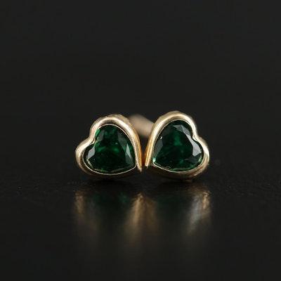 14K Gold Green Cubic Zirconia Heart Earrings