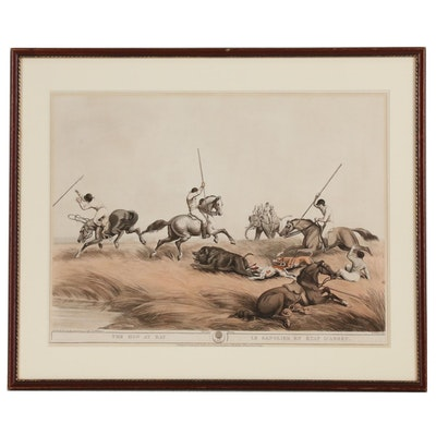 """Lithograph with Stipple Engraving after Samuel Howitt """"The Hog at Bay"""""""