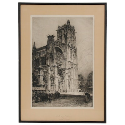 "Henry Charles Brewer Etching ""St. Jacques Dieppe"""