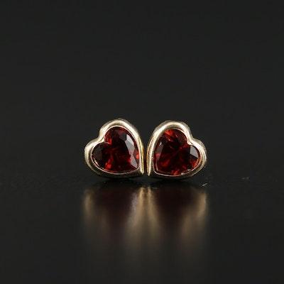 14K Gold Orange Cubic Zirconia Heart Earrings