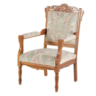 Victorian Eastlake Walnut Arm Chair, Late 19th Century