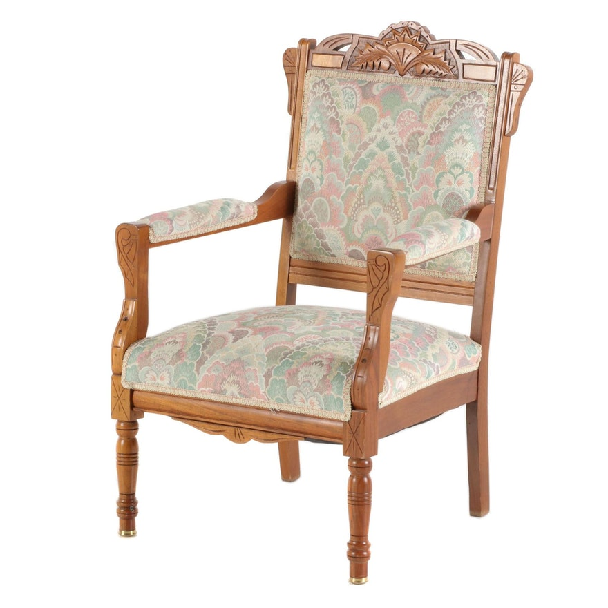Victorian Eastlake Walnut Arm Chair, Late 19th Century