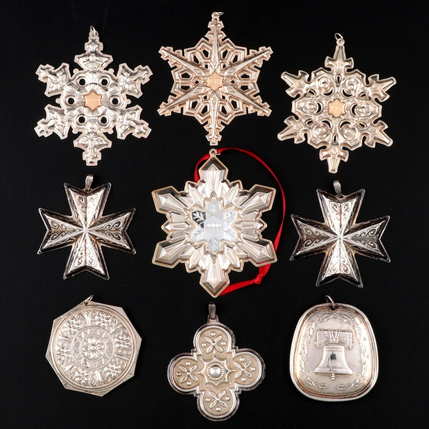 Gorham, Towle and Reed & Barton Sterling Silver Christmas Ornaments