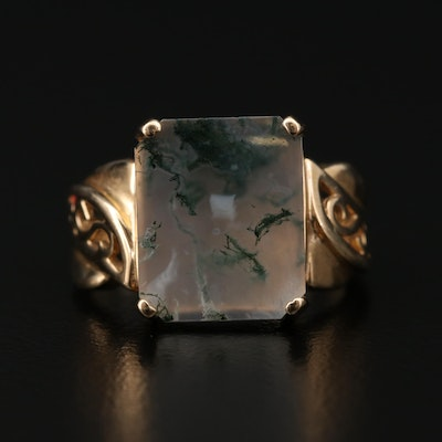 10K Yellow Gold Moss Agate Ring