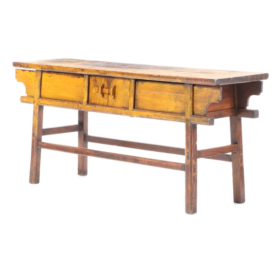 Chinese Painted Wood Hall Table, Early to Mid 20th Century