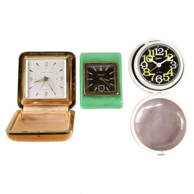 Westclox, Phinney-Walker and Linden Art Deco Traveling Alarm Clocks