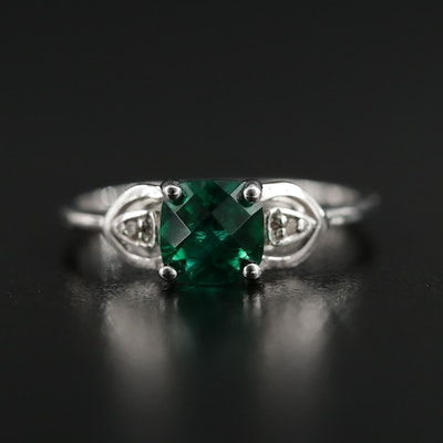 10K White Gold Synthetic Emerald and Diamond Ring