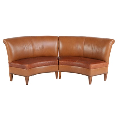 Contemporary Crescent Shaped Leather Settees with Nail Tack Detailing