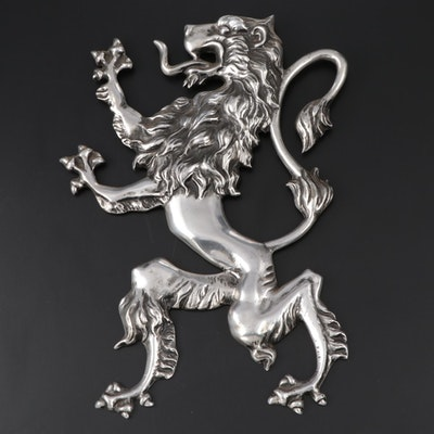 Medieval Style Silver Tone Heraldic Lion Plaque