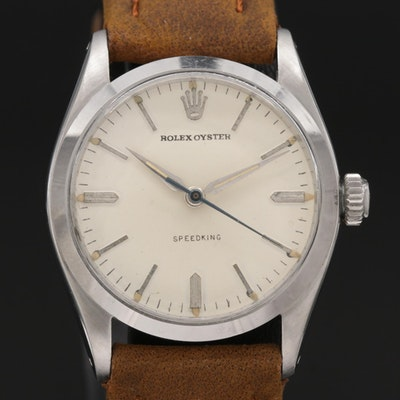 Vintage Rolex Oyster Speedking Stainless Steel Stem Wind Wristwatch