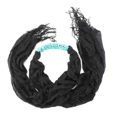 Turquoise and Black Cotton Muslin Fringed Scarf