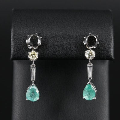 14K Gold and Platinum 3.06 CTW Diamond and Emerald Stud and Enhancer Earrings