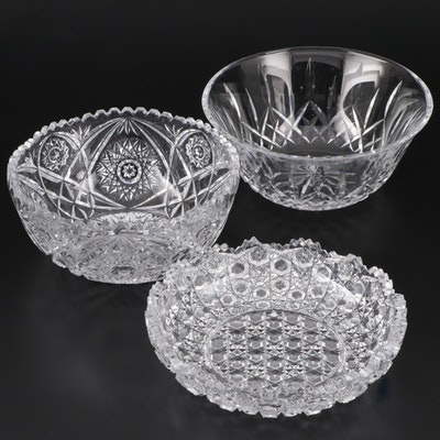 """Waterford Crystal """"Lismore"""" Bowl with American Brilliant Cut Glass Bowls"""