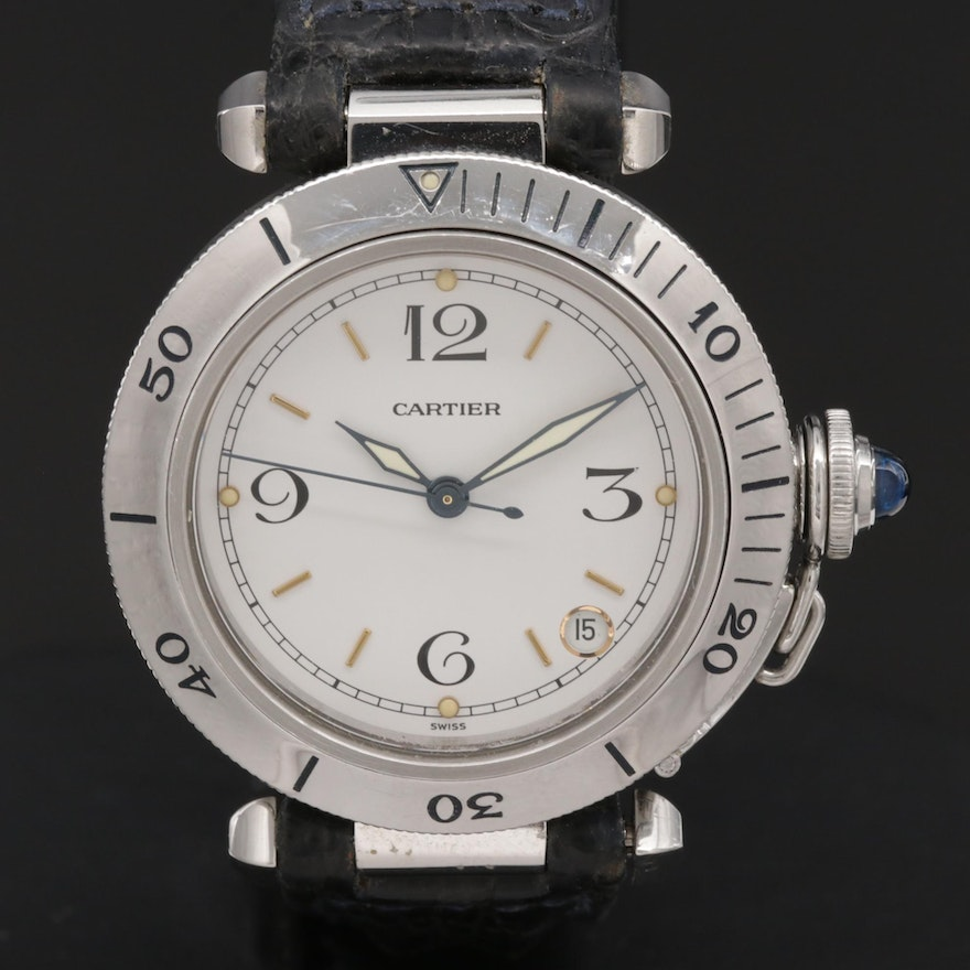 Cartier Pasha Stainless Steel Wristwatch with Date