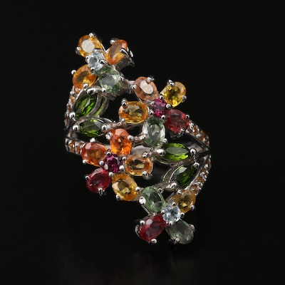 Sterling Silver Garnet, Diopside and Sapphire Floral Ring