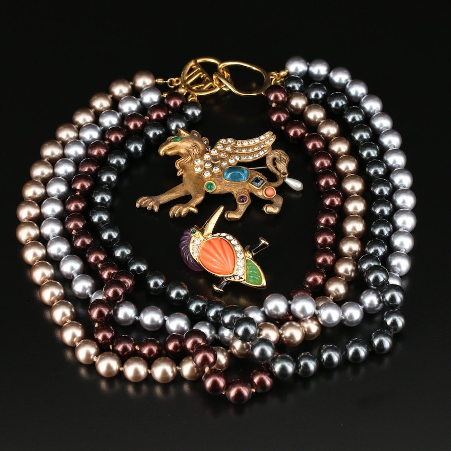 Imitation Pearl Multi-Strand Necklace With Glass Bird and Griffin Brooches