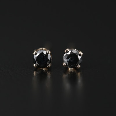 14K Yellow Gold Diamond Stud Earrings